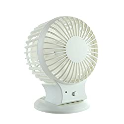 AFAITH Rechargeable Noiseless USB Desk Fan Quiet Powerful Airflow Personal Mini Cooling Fan Small Table Fan with Pedestal Adjustable Head Angel 2 Level Speed Built-in 800mAh Battery On-the-Go and Portable for Desktop Tabletop Office Room Travel