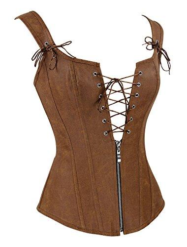 Charmian Women's Renaissance Lace Up Vintage Boned Bustier Corset with Garters 1