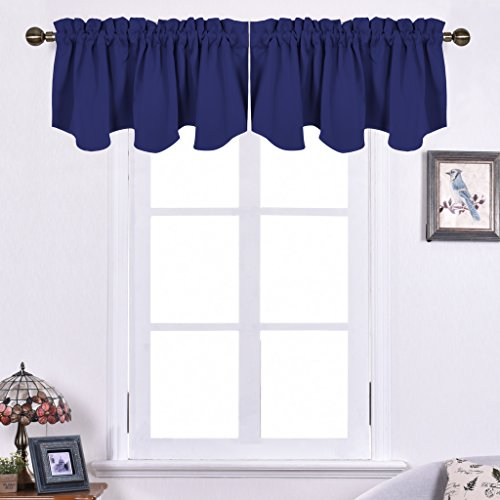 Nicetown Blackout 52-inch by 18-inch Scalloped Valance Window Curtain, Royal Blue (Light Blue Valances For Windows compare prices)