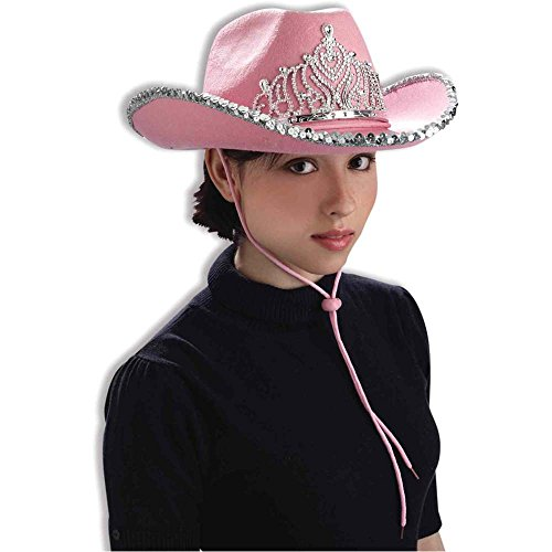 Pink Sequin Cowgirl Hat with Tiara - One Size