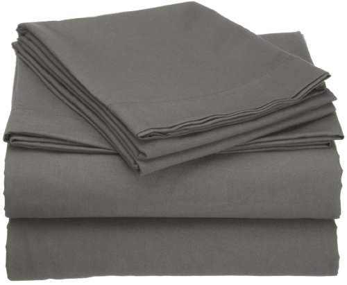 Clara Clark® Premier 1800 Collection Attached Waterbed Sheet Set, With Pole Insert Pockets, Queen Size, Charcoal Stone Gray front-1019334