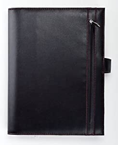Day-Timer Hidden Tab Vinyl Wire Bound Planner, Journal Size, 7.25 x 9.5 Inches, Black with Red Interior (D81095)