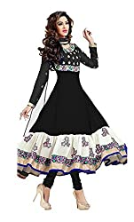 Be With Me Women's Silk & Georgette Dress Material (Wamsi_Black_Free Size)