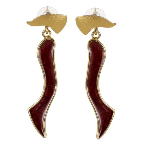 Gold plated Earrings with Pink Enamel Work   SHJ