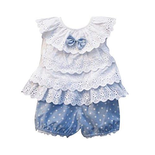 Kids Baby Girls Tops Polka Dot Lace Shirts T-shirt Shorts Pants Outfits Sets,6-12 Months,Blue