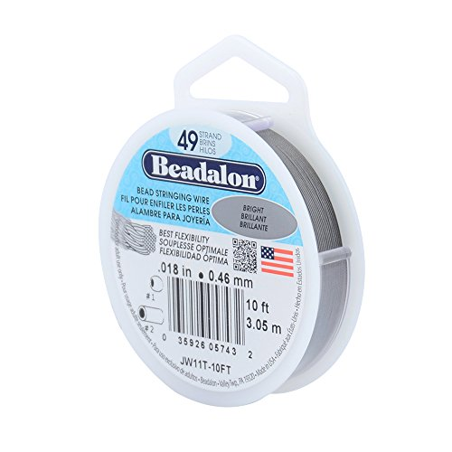 Beadalon 49 Strand Stainless Steel Bead Stringing Wire, .018-Inch/10-Feet, Bright