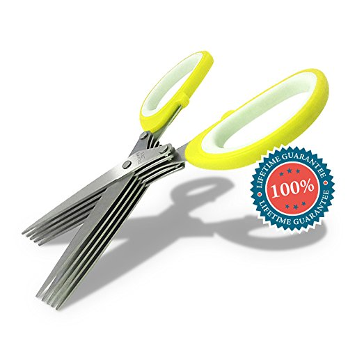 Home & Family Bliss Culinary Herb Scissors - 5-blade Multipurpose Kitchen Shears, Including Cleaning Comb