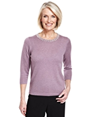 Classic Pearl Effect Jumper with Wool