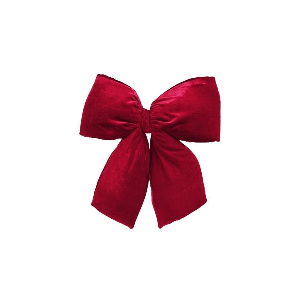 Red Indoor / Outdoor Velveteen 4 Loop Christmas Bow