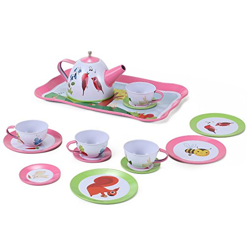 Nature Garden Picnic Tin Tea Party Set For Kids - Metal Teapot And Cups Kitchen Playset