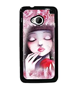 PrintDhaba Cute Girl D-3434 Back Case Cover for HTC ONE M7 (Multi-Coloured)