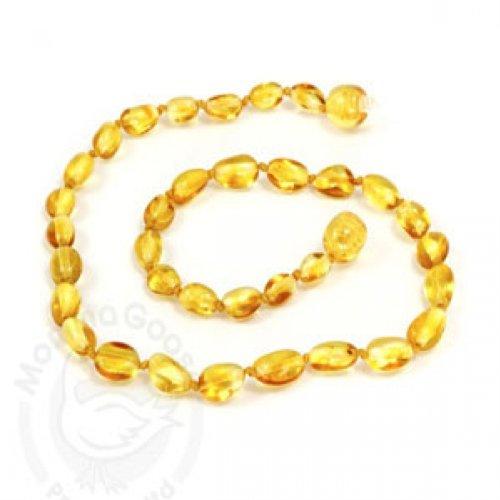 """Momma Goose Olive Teething Necklace, Lemon, Medium/12-12.5"""""""