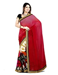 101cart Amazing Red Georgette Beautiful Embroidered On Pallu Blouse Piece D.No.3226