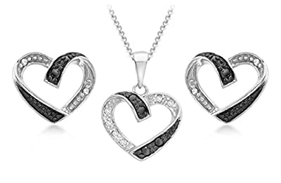 Carissima Gold 9ct White Gold 0.15ct Black White Diamonds Set of Heart Earrings and Pendant on Curb Chain Necklace of 46cm/18""