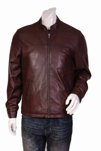 Mens Semi Fitted Biker Style Leather Jacket Sylvester Brown Gents Leather Jacket (3XL)
