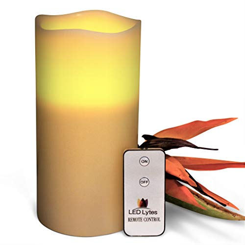 LED Lytes Flameless Candles Flickering - ONE Ivory Wax Amber Yellow Flame Pillars Battery Operated Remote Parties, Weddings Decorations