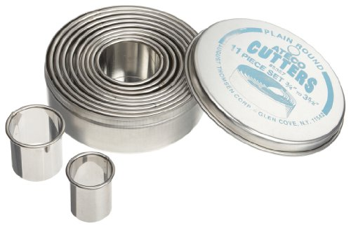 Ateco 5357 11 Piece Plain Round Cutter Set