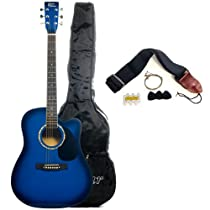Austin Bazaar 38 Inch Blue Cutaway Guitar with Gig Bag and Accessories
