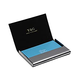 YDC05A15 Dark Cadet Blue Name ID Credit Card Case For Wedding Black Artificial Leather Card Holder Infinity Price With Gift Box By Y&G