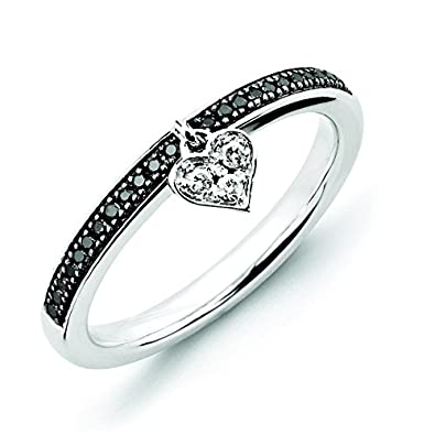 Sterling Silver Stackable Expressions Heart Black and White Dia. Ring - Ring Size Options Range: J to T