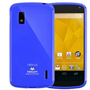 SQ1 [Mercury] Slim Fit Flexible TPU Case for LG Google Nexus 4 (Blue)