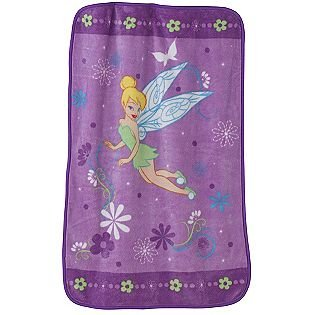 Disney Fairies Fleece Baby Blanket Pixie Dots & Flowers - 1