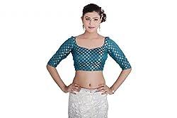 Inblue Fashions Turqoise Blue Brocade Blouse
