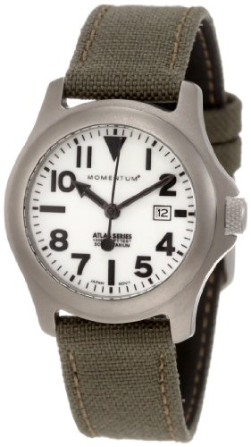 Momentum Women's 1M-SP01W6G Atlas White Dial Khaki Cordura Watch