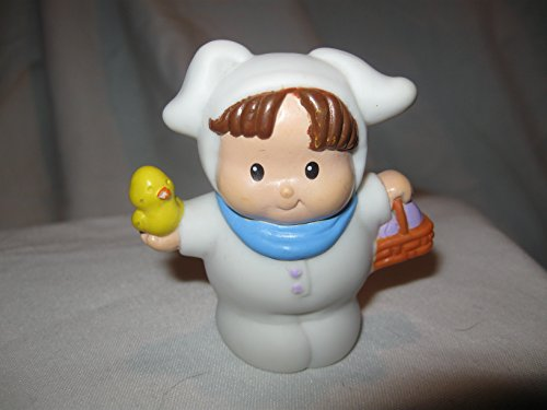 Fisher Price Little People Easter Holiday Brown Haired Boy White Bunny Costume Easter Basket Easter Outfit Bunny OOP 2002 - 1