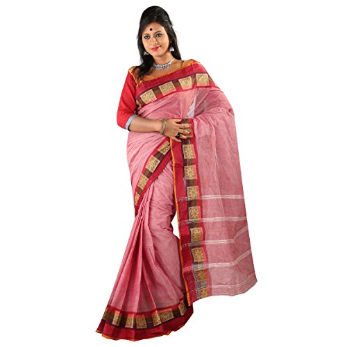 Hawai Gorgeous Light Red Cotton Tant Saree For Women