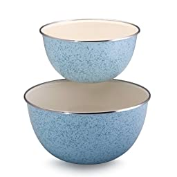 Paula Deen Signature Enamel on Steel 1.5-Quart and 3-Quart 2-Piece Mixing Bowl Set, Robin\'s Egg Blue Speckle