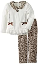 Young Hearts Girls 2-6X 2 Piece Pocket Cat Print Shirt and Pant, White, 6