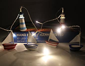 Party Lights - Nautical Boat and Lighthouse White LED Light Chain - 240v with transformer - Fairy Lights
