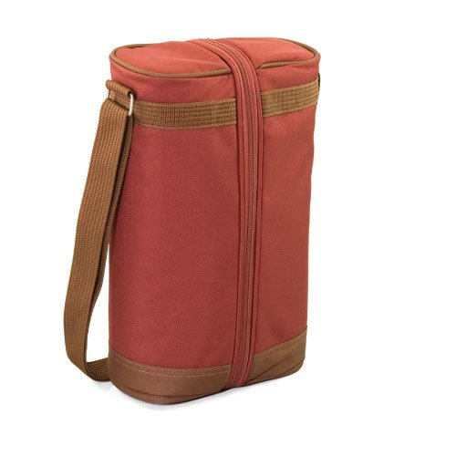 Picnic Time Estate Insulated Wine Tote, with Service for 2, Red Clay