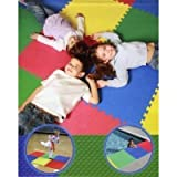 Multi-Purpose Reversible (Bright Colors or Neutral Charcoal) Foam Floor Mats (BIG Tiles 25