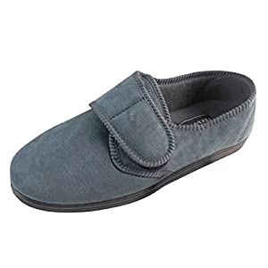 New Grey Mens Classic Velcro Luxury Quality Wide Slippers Size UK 11