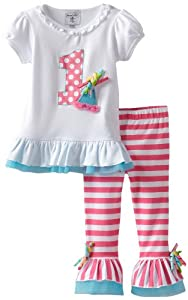 Mud Pie Baby-Girls Newborn I'm 1 Tunic And Legging Set, Multi, 12-18 Months