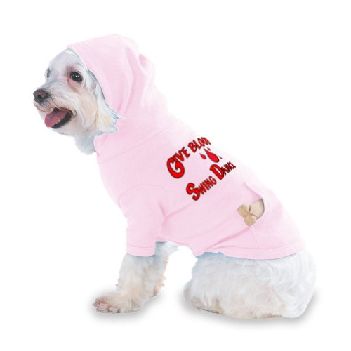 Give Blood Swing Dance Hooded (Hoody) T-Shirt with pocket for your Dog or Cat X-Small (XS) Pink