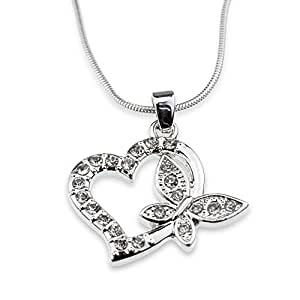 Amazon.com: Beautiful Crystal Heart Butterfly Pendant ...