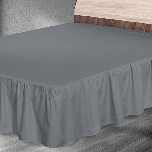 ruffle bed skirt queen grey brushed microfiber bed ruffle by utopia bedding home garden. Black Bedroom Furniture Sets. Home Design Ideas