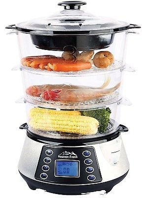 Stainless Steel 3-Tier Digital Food Steamer, Electric Digital Meat & Rice Cooker (Camping Rice Cooker compare prices)