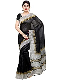 Oomph! Women's Printed Bhagalpuri Silk Sarees - Charcoal Black & Slate Grey