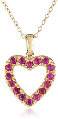 18k Yellow Gold-Plated Sterling Silver Ruby Open Heart Pendant Necklace, 18""