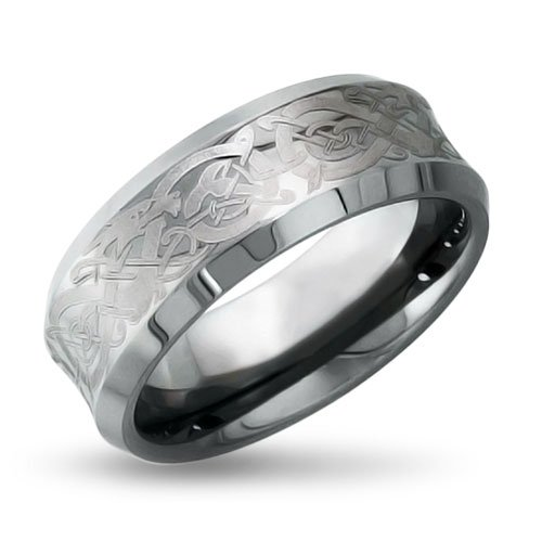 Bling Jewelry Celtic Dragon Concave Comfort Fit Unisex Tungsten Mens Wedding Band Ring