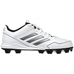Buy Adidas Abbott Wheelhouse Ladies Mid Softball Cleats , White|Silver, Size 9.5  by adidas