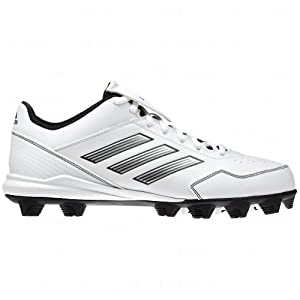 Buy Adidas Abbott Wheelhouse Ladies Mid Softball Cleats , White|Silver, Size 11.5  by adidas