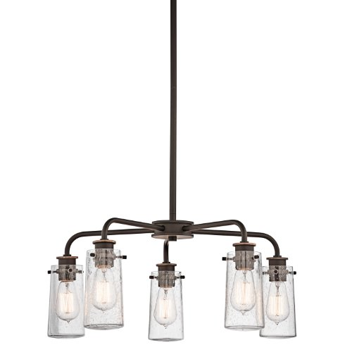 43058Oz Braelyn 5Lt Convertible Fixture, Olde Bronze Finish With Clear Seedy Glass front-1004264