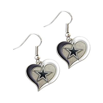 "Sports Team Dallas Cowboys Logo 3/4"" Swirl Heart Dangle Earring Set"