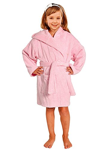 Terry Loop Bathrobe 100% Cotton Towel Kids Pink Hooded Robe Girls & Boys Size Sm