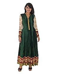 Gurpreet Kaur Women Velvet Dress (G004, Dark Green, 38)